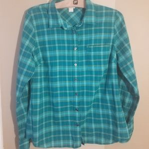 J. Crew teal perfect fit plaid button down medium